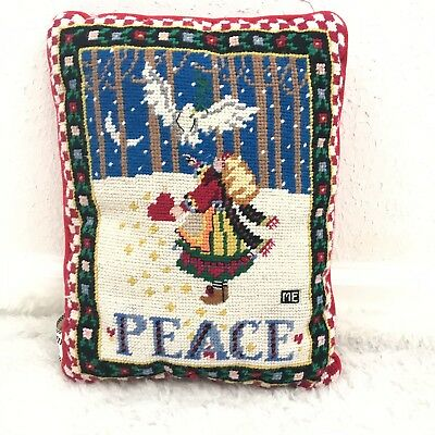 Mary Engelbreit Xmas Throw Pillow Needlepoint Dove PEACE Midwest Cannon Falls