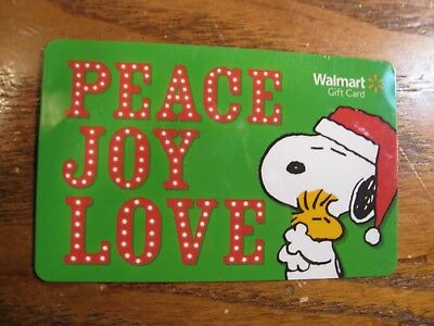 Walmart Gift Card - No Value - Snoopy & Woodstock - PEACE JOY LOVE - Collectible