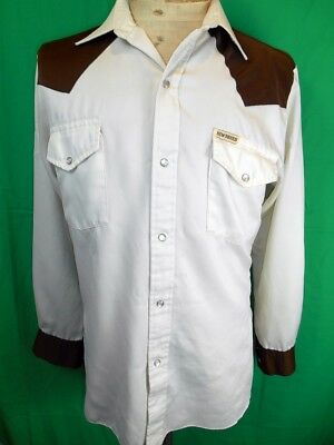 Vintage Cream & Brown Silky Polyester New Breed Western Cowboy Shirt Small