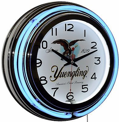 """Yuengling America's Oldest Brewery Since 1829 15"""" Blue Double Neon Wall Clock"""
