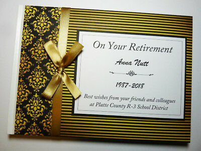 Personalised Black & Gold Retirement/wedding/gift Guest Book - Any Colour