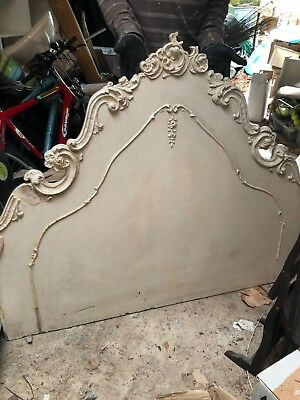Wooden, carved painted headboard, needs some attention. 137cm wide x 110cm high