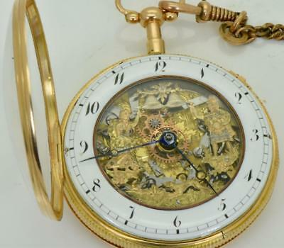 WOW! Here it is! RARE 18k gold SKELETONISED Repeater AUTOMATON Verge Fusee watch