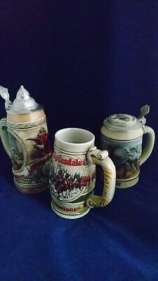 3 Vintage Collectible Anheuser Busch Budweiser Beer Steins Mugs