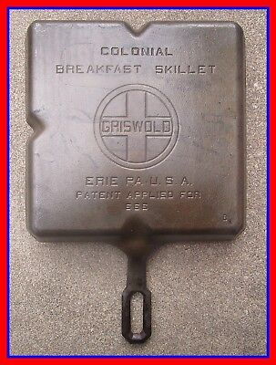 Vintage Old Antique Griswold Erie No 666 B Cast Iron Colonial Breakfast Skillet