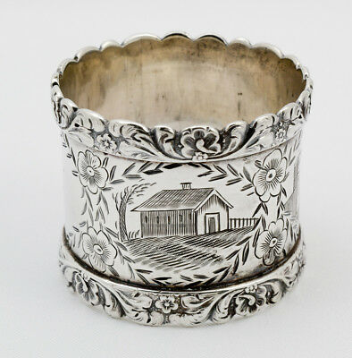 Heavy Wide Sterling Napkin Ring Engraved With Houses And Wild Roses