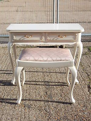 Superb vintage french louis style dressing table desk with matching stool seat