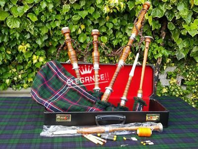 Great Highland Bagpipe Silver Mounts/Scottish Bagpipe with Hard Case Tutor Book