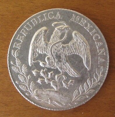 Mexico 1889 8 Real Silver Coin 27.07 g 0.903 km-455 -- Eagle Cap Rays