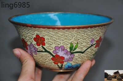 Old China Chinese Dynasty palace Bronze Cloisonne flower statue bowl Cup bowls