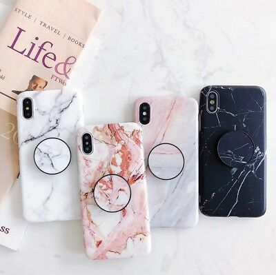For iPhone XS Max Case Marble Pattern W Pop Up Holder TPU Shockproof  XR 11 Pro