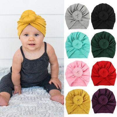 For Newborn Toddler Kids Baby Indian Turban Knot Cotton Beanie Hat Cap Unisex YU