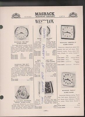 1967 catalog pages vintage WESTCLOX alarm clocks & wall clock 9 pages of clocks