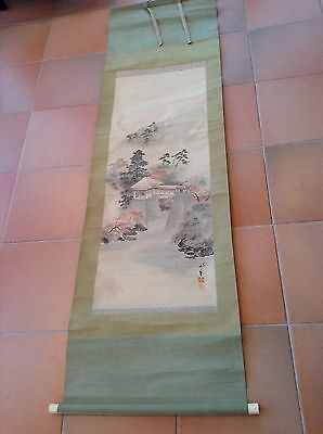 Large 6F long Antique Japanese Hanging Painting Scroll Silk Fabric