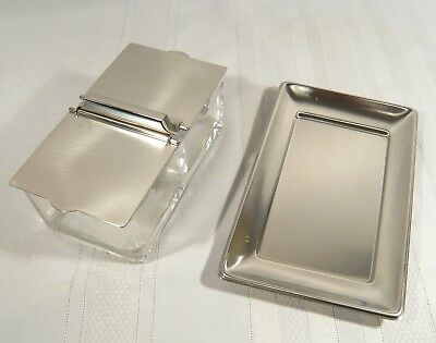WMF  Glass & Stainless Steel Germany Cromargan Condiment Dish Modern