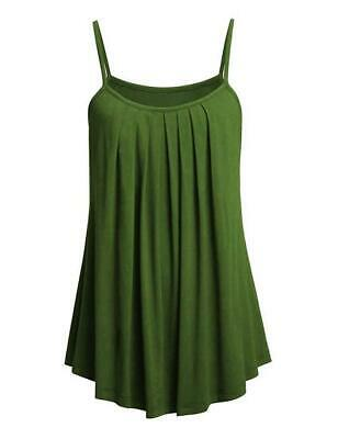 Women's Summer Casual Flowy Loose Fit Basic Pleated Tank Top Camisole