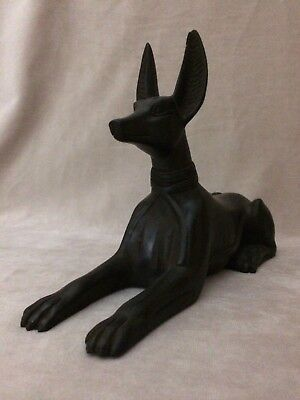ANCIENT EGYPTIAN ANUBIS EGYPT Antique GOD DEITY Dog STATUE Carved STONE Black BC