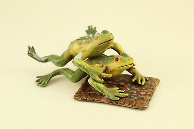 Vtg Petites Choses Acrobatic Frogs on Carpet Rug Metal Art Sculpture Figurine