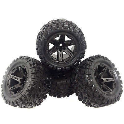 4 RUSTLER  4X4 VXL wheels TALON EXT tires XL-5 new rims Black NEW