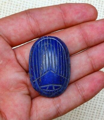Ancient EGYPTIAN SCARAB Antiques Egypt Beetle NATURAL LAPIS LAZULI Royal Blue