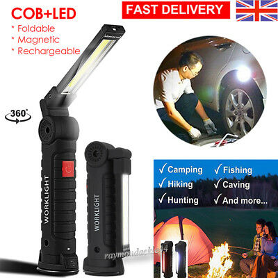 LED COB Rechargeable Magnetic Torch Inspection Lamp Cordless Work Light Camp UK