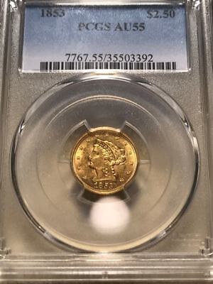 1853 $2.50 Liberty Gold Quarter Eagle PCGS AU-55