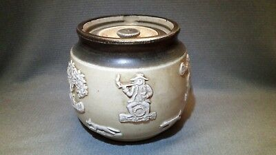Vintage Tobacco Humidor Jar Product Made in England Fox Hunt Rider Horse Dog 3D