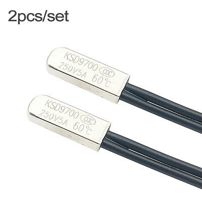 2Pcs Temperature Switch Thermostat Thermal Protector Normally Close Open 250V/5A