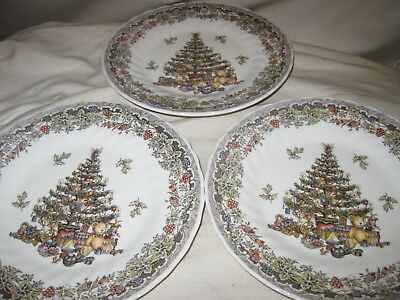 """3 Queen's Myott Factory Archive Seasons Greetings Multicolored 8"""" Salad Plates"""