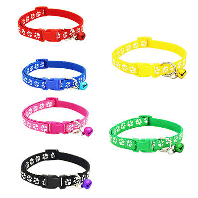 2 Pack Adjustable Cat Collar with Bell, Fashion Paw Print Design Pet Collar X2H9