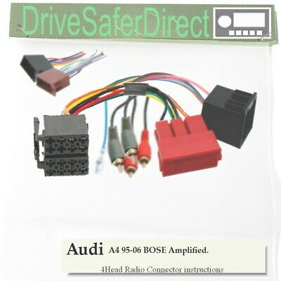 4-Head-0121-02J Radio Adaptor,ISO-JOIN Kit for Xtrons/Audi A4 BOSE 95-06
