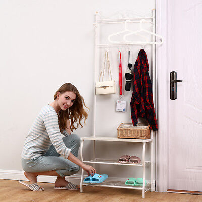 LANGRIA Entryway Metal Storage Shoe Bench with Coat Rack 3 Tiers 5 Free Hooks