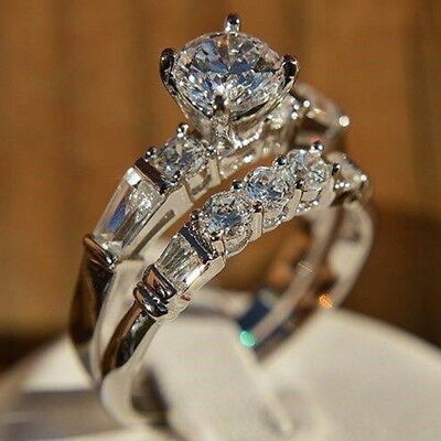 Fashion Round Cut White Sapphire Women Wedding Ring 925 Silver Jewelry Size 6-10