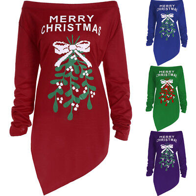 Women Girls Christmas Tree Dress Tops Blouse Ladies Xmas Long Sleeve Party Dress