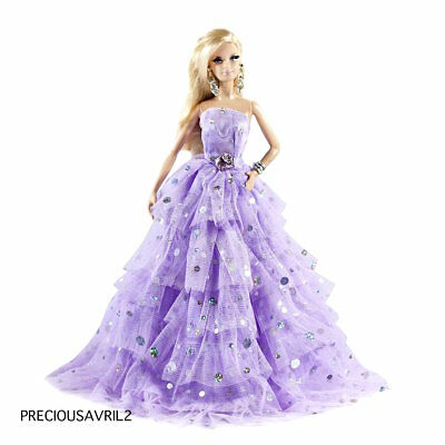 New Barbie doll clothes outfit princess wedding dress gown purple embroidered.
