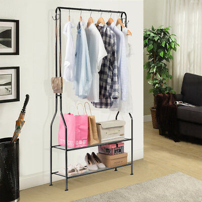LANGRIA 2-Tier Hall Coat Rack Organiser Storage Shoe Bench Stand with Top Rod
