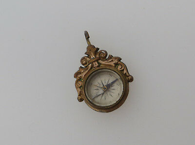 Plated Gilt Metal Small Compass German ? - For Albert Chain / Pocket Watch Fob ?