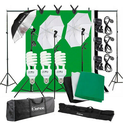 Photography Studio Continuous Lighting Kit 3 Light Stand Kit with 3 Backdrop
