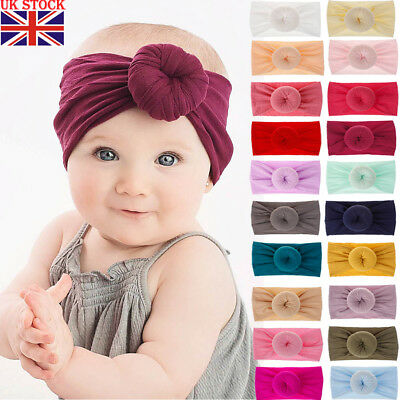 UKSTOCK Girl Kids Baby Nylon Bow Hairband Headband Stretch Turban Knot Head Wrap