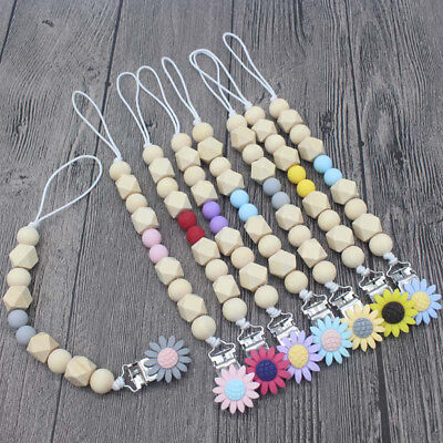 Baby Silicone Pacifier Clip Colorful Sunflower Pacifier Chain Teething Soother