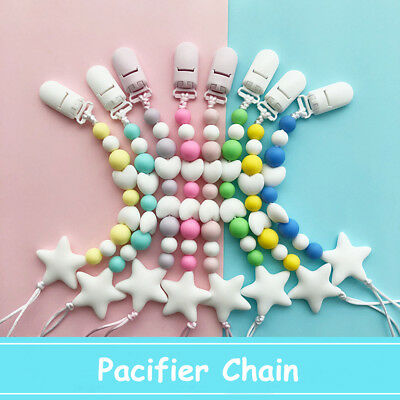 Silicone Baby Pacifier Clip Colorful Pacifier Chain for Baby Teething Soother