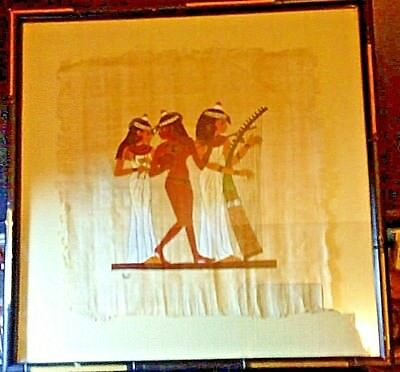 Egyptian Papyrus Paper, Handmade Painting Three Woman Musicians Framed & Signed