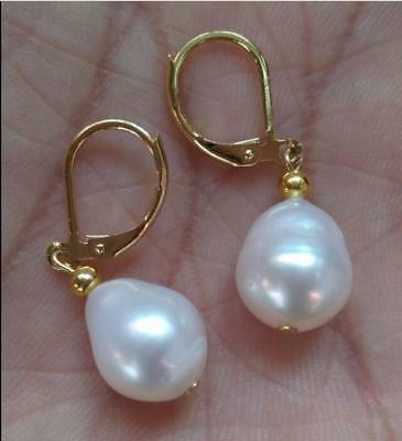 AAA Loose Baroque 10-12mm south sea pearl earring natural gorgeous earring white