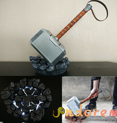 Metal 1:1 THE Avengers Thor Hammer 1:1 Cosplay Prop Mjolnir LED Light Stand Base