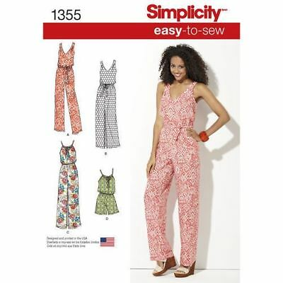 Simplicity Sewing Pattern 1355 Misses 4-26 Maxi Dress Jumpsuit Long or Short