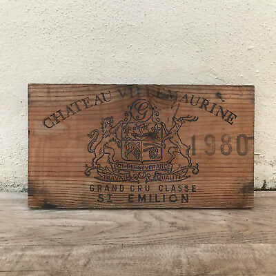 Wine Wood Crate Box Panel Antique Vintage French wall sign VILLEMAURINE 0911181