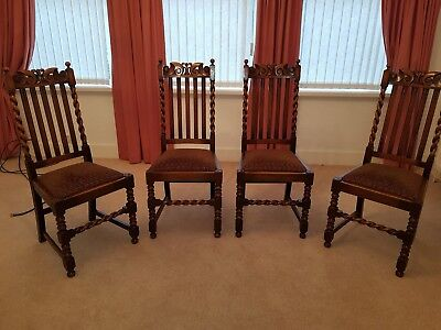 Solid Oak Vintage Barley twist dining chairs x 4 beautiful