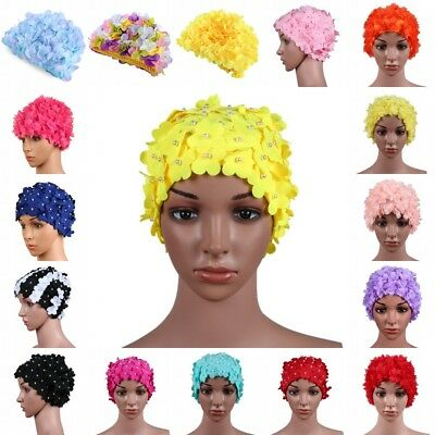 Vintage Women Stretchy Swimming Cap 3D Petal Flower Long Hair Swim Bathing Hat