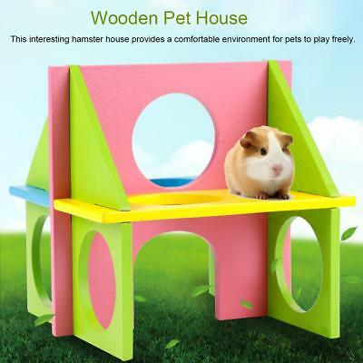 Wooden 2-Tier Hamster Pet Cage House Chinchilla Mouse Small Pet Mice Habitat Toy