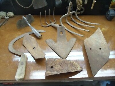 Lot Of 8 Misc. Antique/vintage Garden Tool Heads & Attachmnts    0808-19